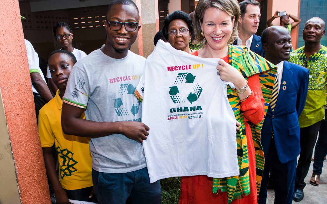 The Queen of Belgium visits Recycle Up! Ghana's project at Sunflower School in Accra